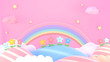 canvas print picture 3d rendering picture of sweet cartoon mountains, flowers, stars and rainbow.