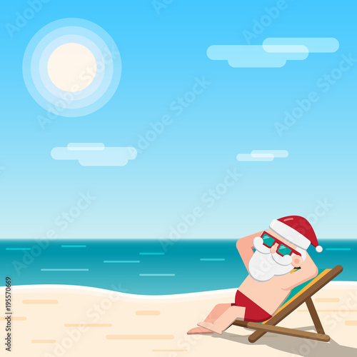 Christmas In July Santa Clipart.Christmas In July Theme Santa Claus Wearing Sunglasses Sits