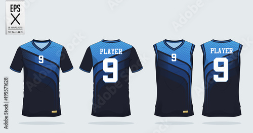 Fotografía  Blue t-shirt sport design template for soccer jersey, football kit and tank top for basketball jersey