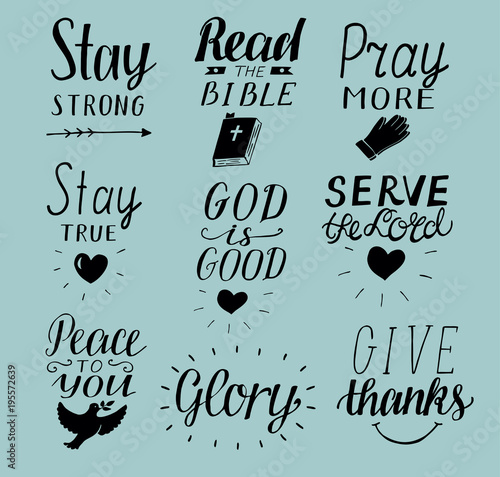 Set of 9 Hand lettering christian quotes Stay strong. Peace ...