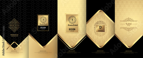 Fototapeta Collection of design elements,labels,icon,frames,for packaging,design of luxury products. Made with golden foil.For perfume,lotion,wine,Isolated on gold and geometric background.vector illustration obraz