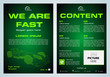 Vector flyer, corporate business, annual report, brochure design and cover presentation with green polygonal race car