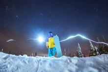 Lady Snowboarder Night Photo A...
