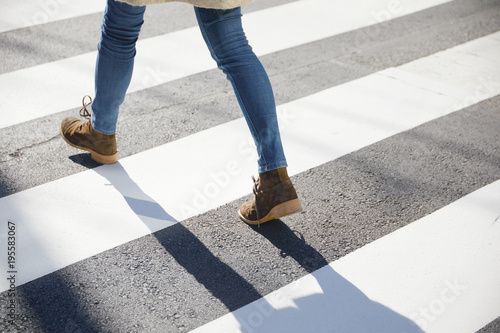 横断歩道 歩く Fototapet