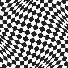 Black And White Checkered Wavy Surface