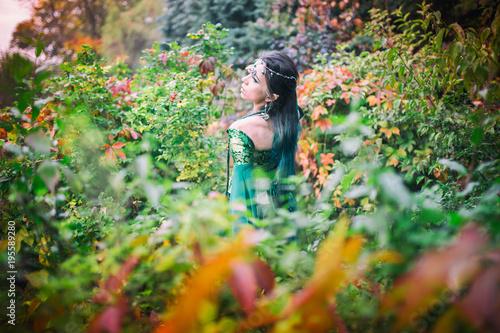 Fototapeta premium Elf - magiczna kraina, piękna elfka