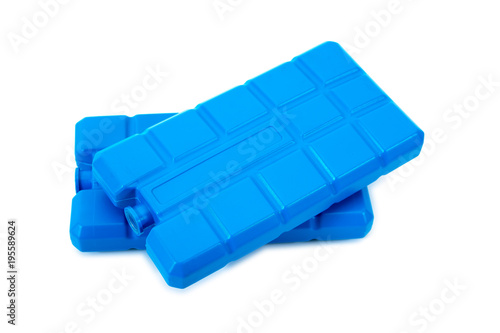 Closeup two plastic ice pack isolated on white background