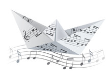 Origami Boat On The Wave With ...