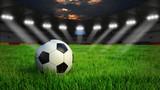 Fototapeta Sport - Fußball auf Rasen im Stadion bei Nacht mit Scheinwerfern, 3D Rendering