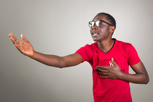 Young African Man In Glasses S...