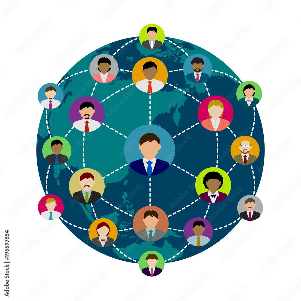 Fototapeta people's global communication illustration