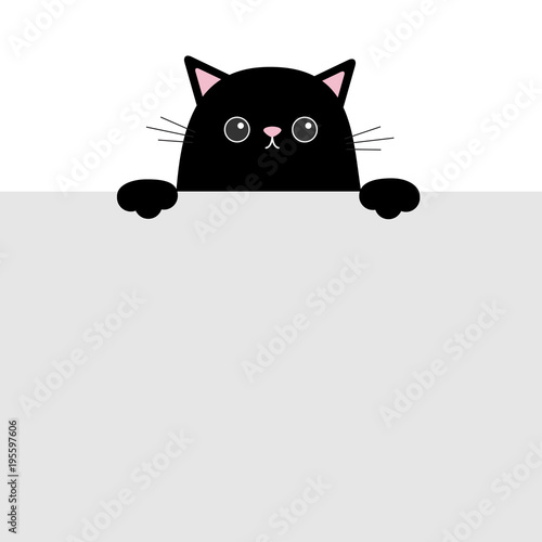 Black Funny Cat Head Face Hanging On Paper Board Template Kitten Body With Paw Print Cute Cartoon Character Set Kawaii Animal Baby Card Pet Collection