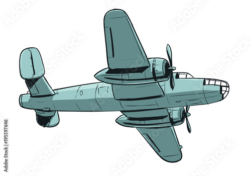 Fototapeta Airplane - coloured hand drawing illustration of old type aircraft of cargo or bomber type