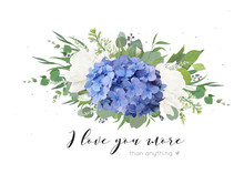 Vector Floral Card Design With Tender Bouquet Of Blue Hydrangea Flower, White Garden Roses, Poppies, Eucalyptus, Lilac Flowers, Greenery Plants, Leaves And Berries. Elegant, Delicate Editable Template