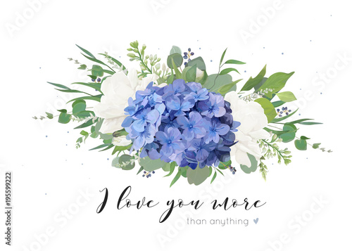 Vector floral card design with tender bouquet of blue hydrangea flower, white garden roses, poppies, eucalyptus, lilac flowers, greenery plants, leaves and berries Poster Mural XXL