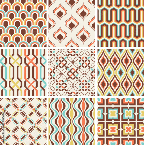 Fotografiet  Retro abstract seamless pattern