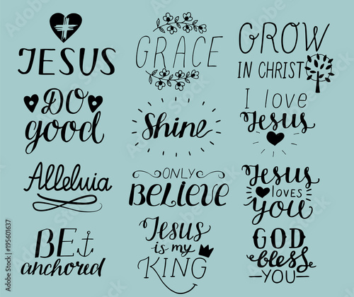 Set Of 12 Hand Lettering Christian Quotes I Love Jesus