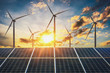 Leinwandbild Motiv wind turbine with solar panels and sunset. concept clean energy