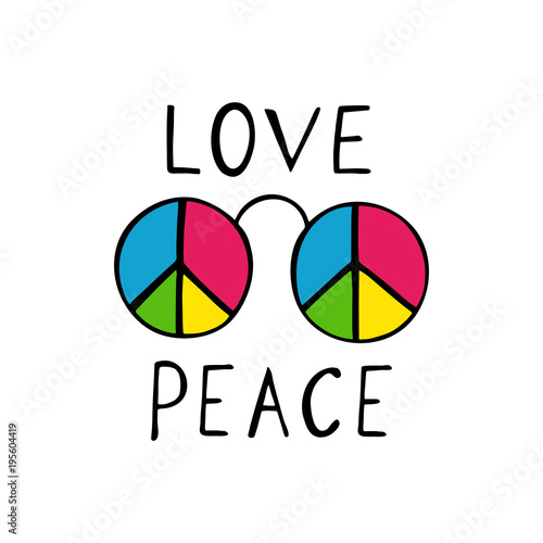 Love and peace hippie style design. Canvas Print