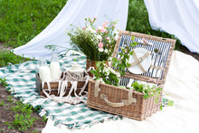 Picnic Basket Decorated With F...