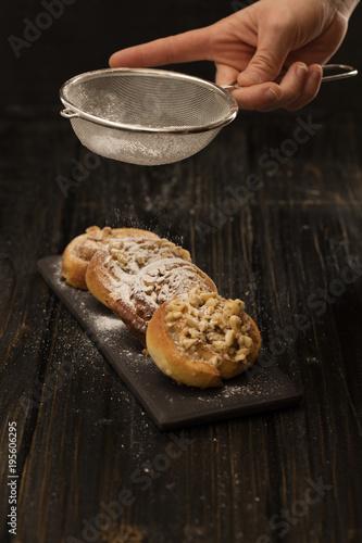 danish pastry on black
