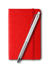 Red Closed Notebook And Pen Is...