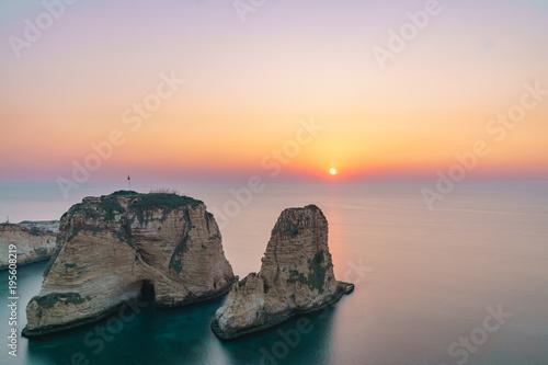 Tela  Magical sunset on Raouche, Pigeons' Rock. In Beirut, Lebanon