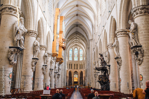 Obraz interior of the Gothic Cathedral. Michael and St. Gudula, Belgium, Brussels, Europe. - fototapety do salonu