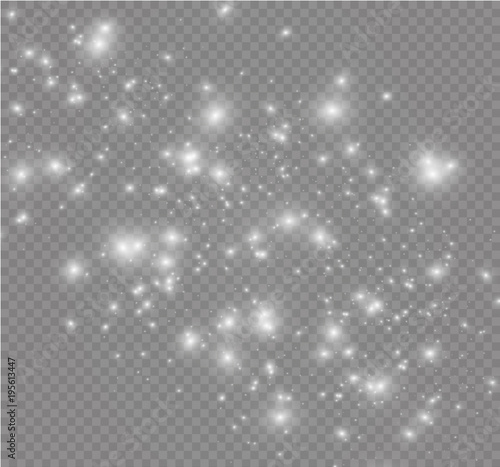 Obraz White sparks and golden stars glitter special light effect. Vector sparkles on transparent background. Christmas abstract pattern. Sparkling magic dust particles. - fototapety do salonu