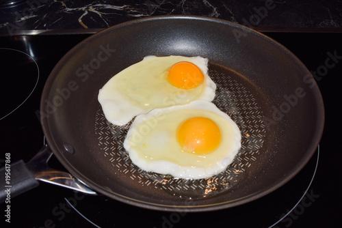 Deurstickers Gebakken Eieren Two fried eggs in a pan, sunny side up fried eggs for breakfast