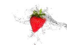 Water Splashing On A Strawberr...
