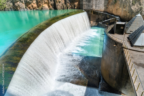 Printed kitchen splashbacks Dam Dam on Segre river with blue water in the mountains. Cascade with waterfall