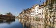 Switzerland, Canton of Bern, Thun, river Aare, old town with Aarequai and sluice bridge