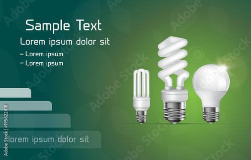 Vector energy saving fluorescent and led lamps. Tapéta, Fotótapéta