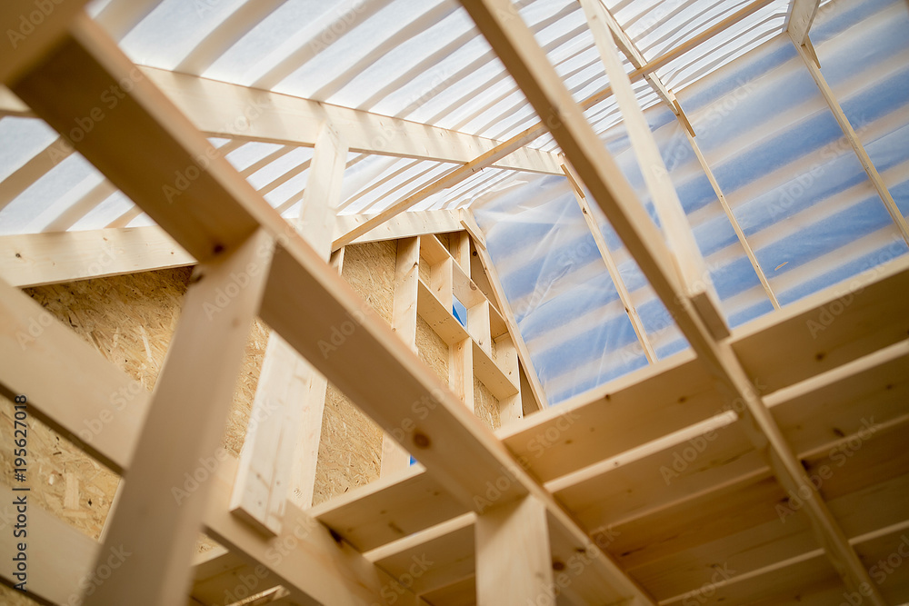 Fototapety, obrazy: Construction of a wooden house
