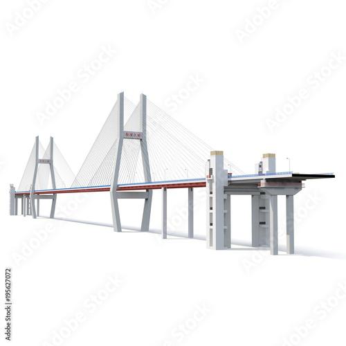 Photo  Nanpu Bridge on white. 3D illustration