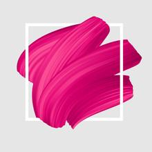 Pink Vector Lipstick Smear. Female Girly Logo. Paint Brush Stroke In Frame, Banner Template.