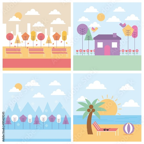 Deurstickers Lichtblauw set of differents season weather landscape vector illustration