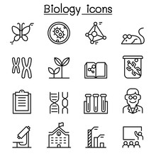 Biology Icon Set In Thin Line ...
