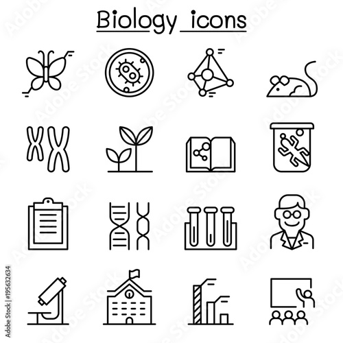 Photo  Biology icon set in thin line style