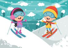 Vector Illustration Of Kids Sk...