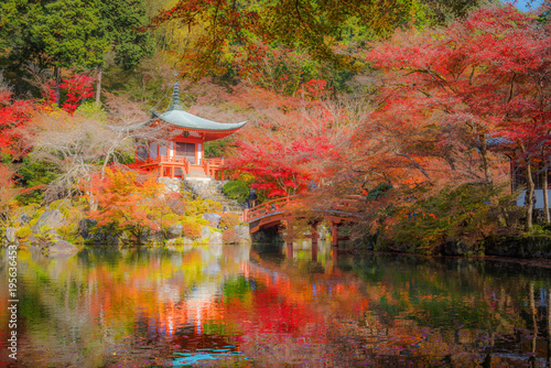 Poster Kyoto Autumn season, The leave change color of red in Temple , Daigoji Temple, Kyoto Japan.