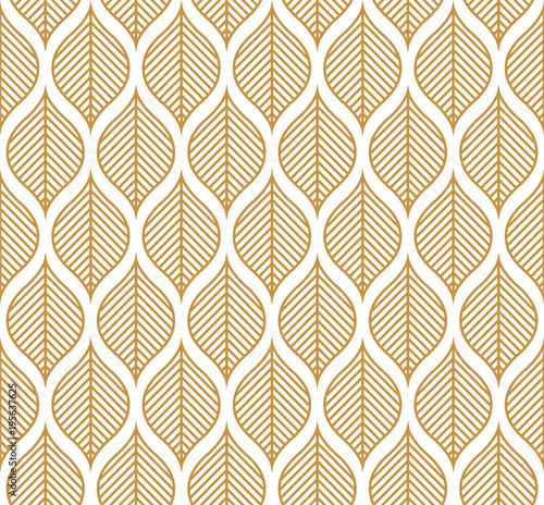 Foto op Canvas Kunstmatig Vector Geometric Leaf Seamless Pattern. Abstract leaves texture.