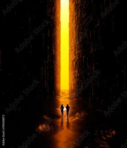 Fotografie, Obraz  Paesaggio fantasy, fessura, oscurità, luce, sole, persone che corrono con una to