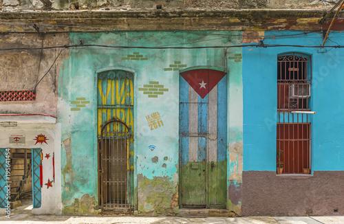 Poster Havana Decorative. colorful entrance door in Havana, Cuba