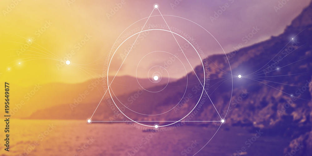 Fototapeta Sacred geometry website banner with golden ratio numbers, interlocking circles, triangles and squares, flows of energy and particles in front of nature background. The formula of nature.