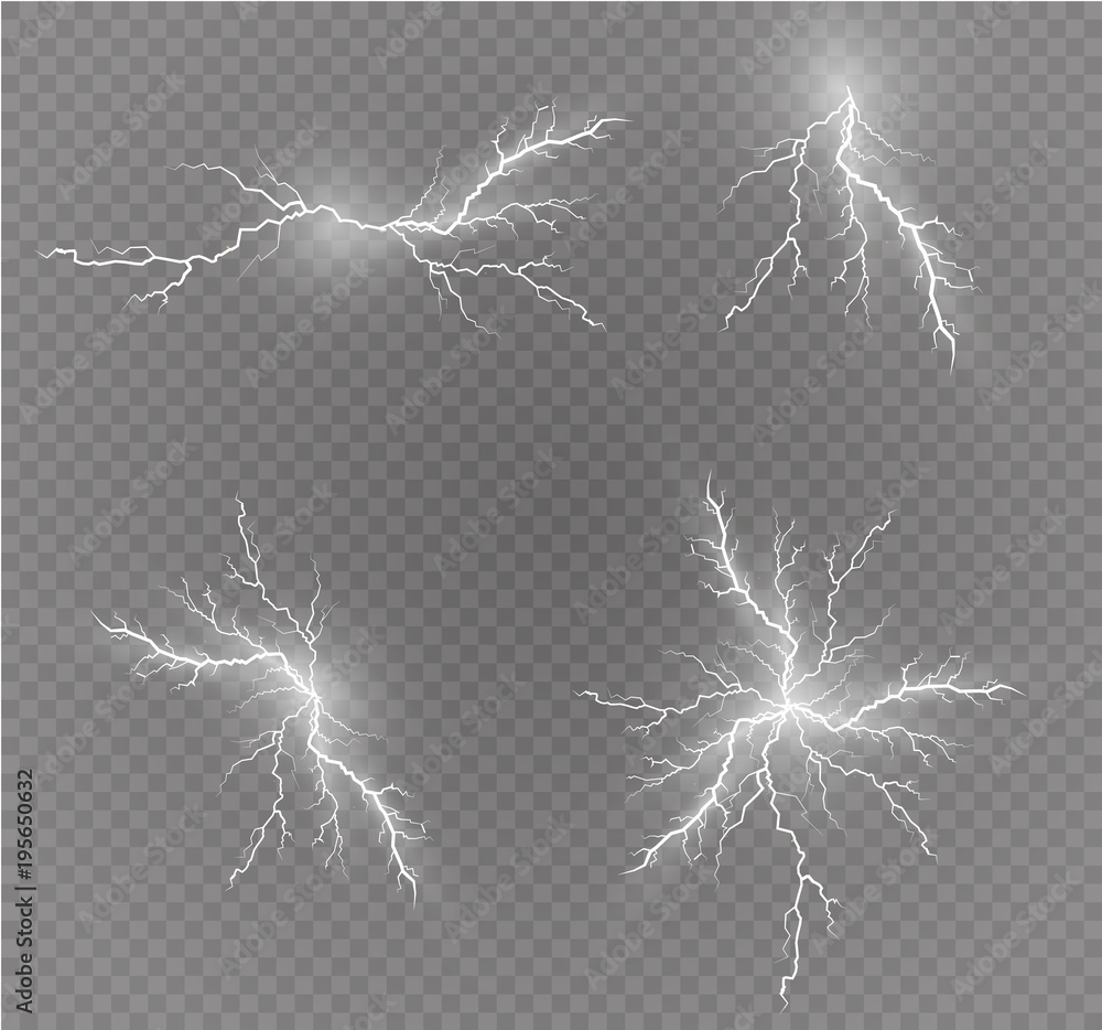 Fototapety, obrazy: A set of lightning Magic and bright light effects. Vector illustration. Discharge electric current. Charge current. Natural phenomena. Energy effect illustration. Bright light flare and sparks