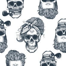 Seamless Pattern In Pop Art Style With Skeleton Womens Heads, Fashion Scarf And Hairstyle, Against Triangle And Purple Stripes On Background. Vector Illustration,