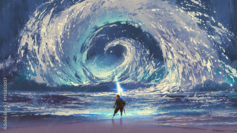 Fototapeta man with magic spear makes a swirling sea in the sky, digital art style, illustration painting