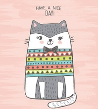 Cute Vector Illustration Of White And Gray Cat In Knitted Sweater With Bow Tie. Lovely Hand Drawn Card. Kitten Drawn With Colored Crayons And Pen. Have A Nice Day! More Beautiful Cards In My Portfolio